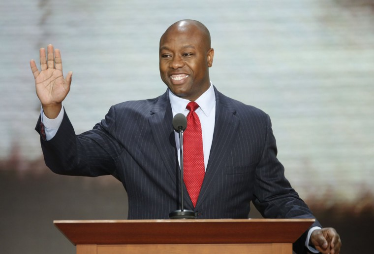 U.S. Rep. Tim Scott (R-SC) addresses crowd the during the second session of the Republican National Convention in Tampa, Florida. (Mike Segar/Reuters)