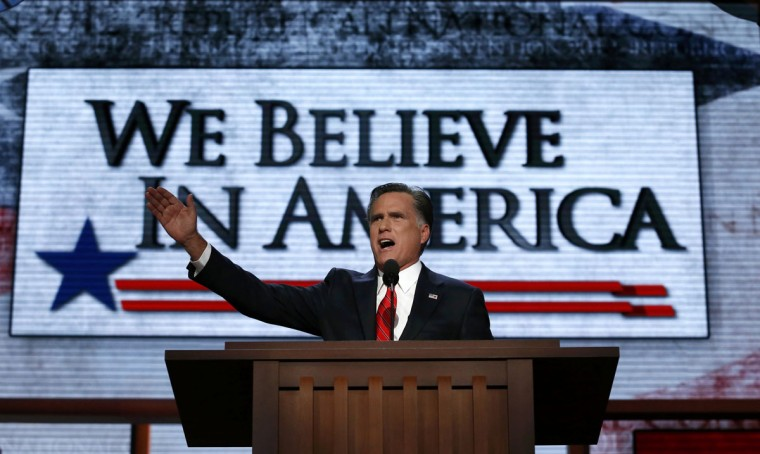 Republican presidential nominee Mitt Romney accepts the nomination during the final session of the Republican National Convention in Tampa, Florida. (Adrees Latif/Reuters)