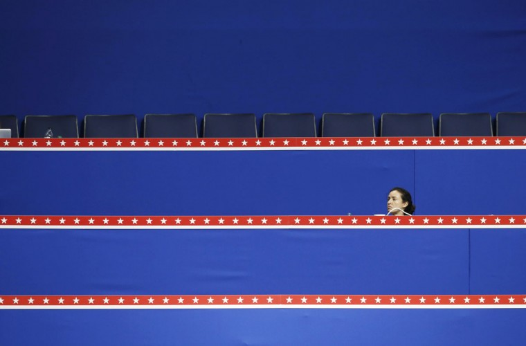 A woman looks out from the upper levels of the Republican National Convention during the opening session of the Republican National Convention in Tampa, Florida, August 27, 2012. (Mike Segar/Reuters)