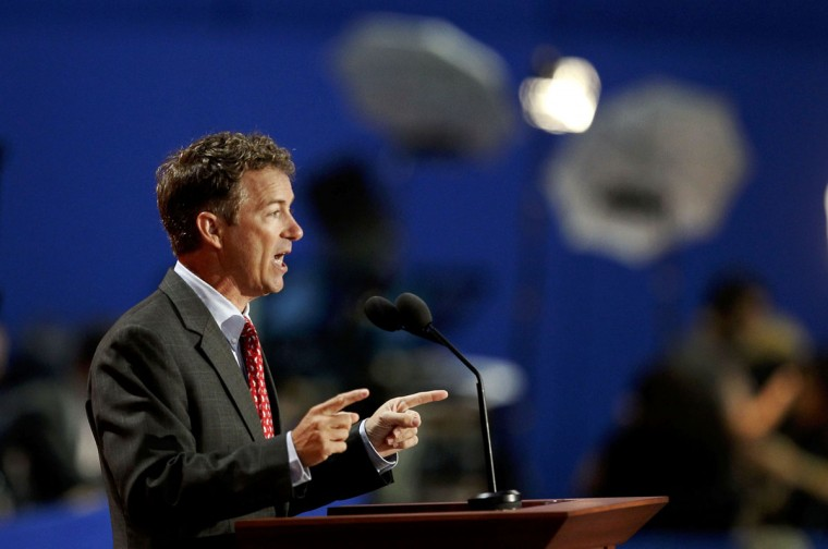 U.S. Senator Rand Paul (R-KY) addresses the third session of the 2012 Republican National Convention in Tampa, Florida August 29, 2012. (Joe Skipper/Reuters)