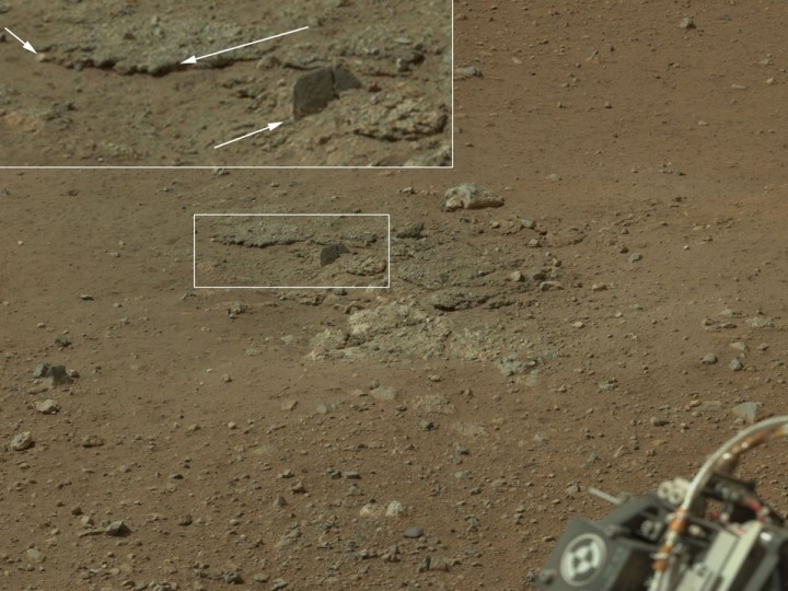 August 12, 2012: This color image from NASA's Curiosity rover, taken August 8, 2012, shows an area excavated by the blast of the Mars Science Laboratory's descent stage rocket engines. This is part of a larger, high-resolution color mosaic made from images obtained by Curiosity's Mast Camera. With the loose debris blasted away by the rockets, details of the underlying materials are clearly seen.