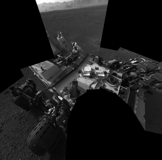 "August 9, 2012: This full-resolution self-portrait shows the deck of NASA's Curiosity rover on Mars from the rover's Navigation cameras. The back of the rover can be seen at the top left of the image, and two of the rover's right side wheels can be seen on the left. This mosaic is made of eight images, each of 1,024 by 1,024 pixels, taken late at night on August 7. The ""augmented reality"" or AR tag seen in the middle of the image can be used in the future with smart phones to obtain more information about the mission. (NASA/JPL-Caltech/Handout/Reuters)"