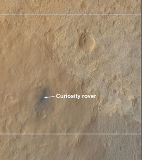 August 14, 2012: In this detail section of an image taken by the High Resolution Imaging Science Experiment (HiRISE) on NASA's Mars Reconnaissance Orbiter as the satellite flew overhead, shows the terrain around the rover's landing site within Gale Crater on Mars. (NASA/JPL-Caltech/University of Arizona/Handout/Reuters)