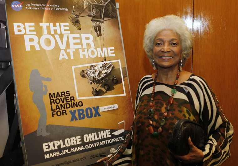 "August 5, 2012: Actress Nichelle Nichols, who played the character Uhura in the original ""Star Trek"" TV series, poses at NASA's Jet Propulsion Lab in Pasadena, Calfiornia. (Fred Prouser/Reuters)"