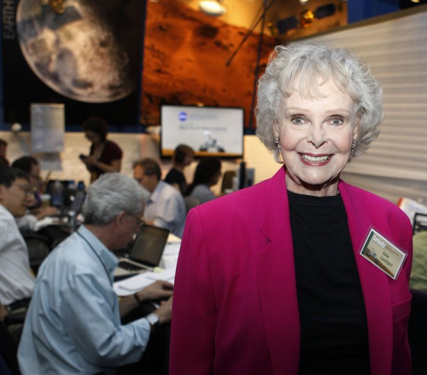 "August 5, 2012: Actress June Lockhart, best know for her TV roles in ""Lost in Space"" and ""Lassie"", poses for a photograph in the newsroom at NASA's Jet Propulsion Lab in Pasadena, Calfiornia. Lockhart was an invited guest for the Mars landing. (Fred Prouser/Reuters)"