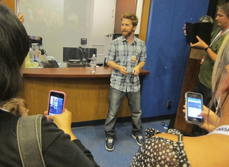 August 5, 2012: Actor Seth Green talks with members of NASA Social, individuals who use social media about NASA's missions, at NASA's Jet Propulsion Lab in Pasadena, California. (Fred Prouser/Reuters)