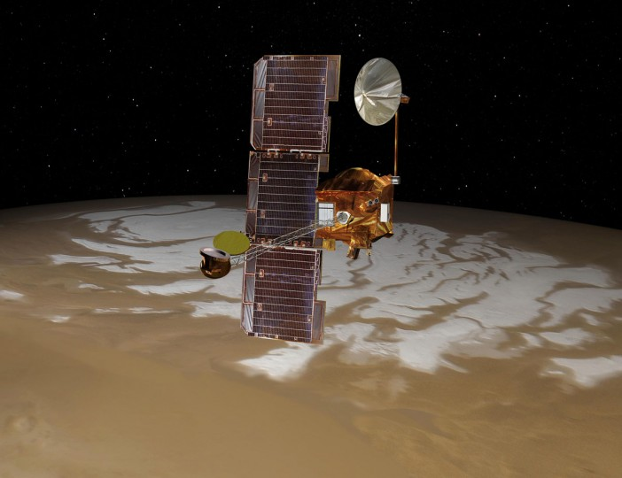 August 5, 2012: NASA's Mars Odyssey spacecraft passes above Mars' south pole in this artist's concept illustration. (NASA-JPL/Handout/Reuters)