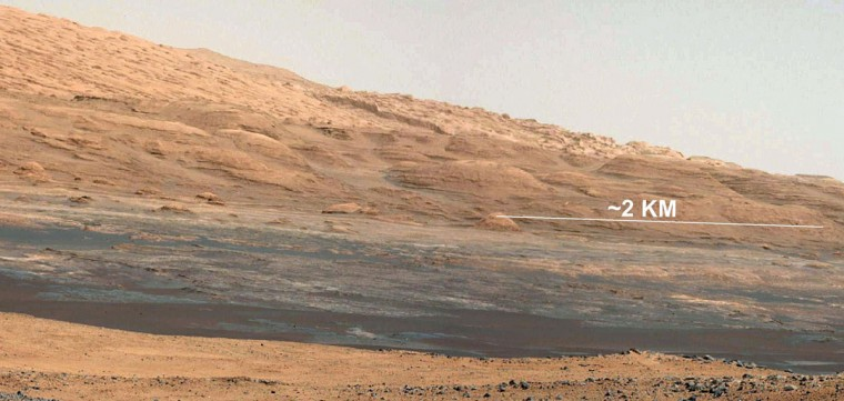 "August 17, 2012: The view from the landing site of NASA's Curiosity rover toward the lower reaches of Mount Sharp on Mars is seen in this NASA photo. This image shows the colors modified as if the scene were transported to Earth and illuminated by terrestrial sunlight. This processing, called ""white balancing,"" is useful to scientists for recognizing and distinguishing rocks by color in more familiar lighting. The terrain Curiosity will explore is marked by hills, buttes, mesas and canyons on the scale of one-to-three story buildings, very much like the Four Corners region of the western United States. (NASA/JPL-Caltech/MSSS/Reuters)"