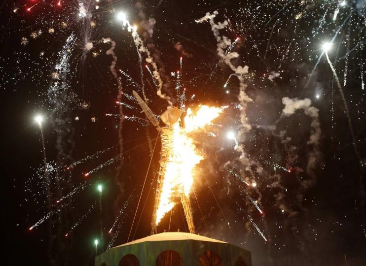 "The Man burns during the Burning Man 2012 ""Fertility 2.0"" arts and music festival in the Black Rock Desert of Nevada, September 1, 2012. (Jim Urquhart/Reuters)"