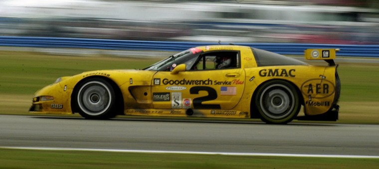 The overall winner, a Corvette from the Corvette Racing Stable, in the Rolex 24 at Daytona is shown in the closing laps with drivers Johnny O'Connell, Chris Kneifel, Ron Fellows and Frank Freon on February 3, 2001. (Gene Sweeney Jr./Baltimore Sun)
