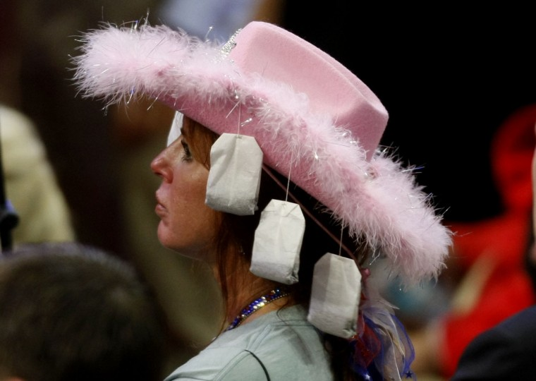 Hats like this one adorned with tea bags are on display at tonight's session of the Republican National Convention in Tampa Florida August 28, 2012. (Mark Boster/Los Angeles Times).