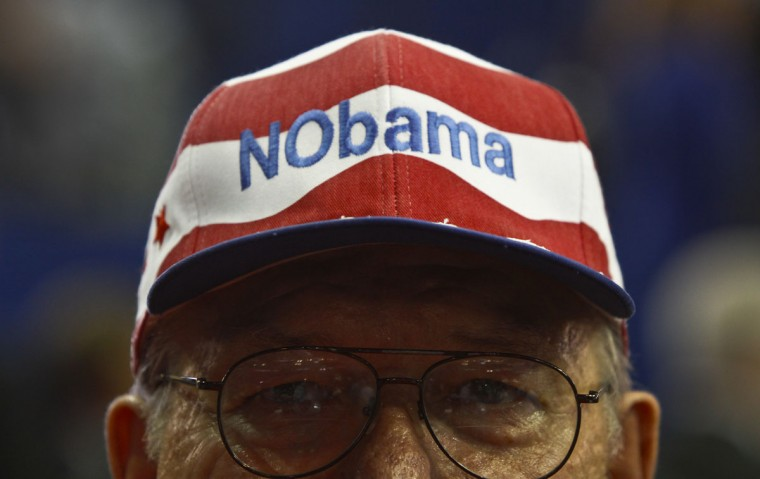 Delegate Hardy Billington wears his anti-Obama hat at the Republican National Convention in Tampa, Florida. (Mark Boster/Los Angeles Times)