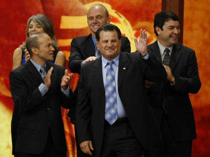 Olympic Hockey legend Mike Eruzione is greeted onstage by other Olympic stars during the Republican National Convention in Tampa, Florida. (Mark Boster/Los Angeles Times).