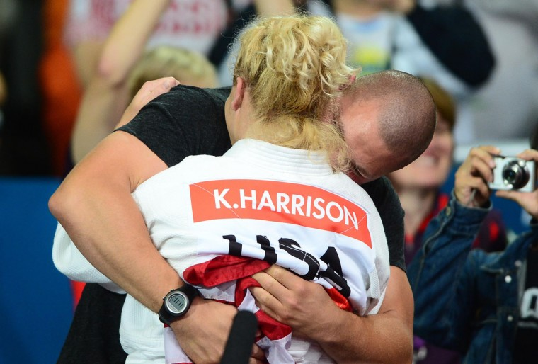 Kayla Harrison (USA) celebrates after winning the gold medal in the women's 78kg final in the London 2012 Olympic Games at ExCel-North Arena 2. (Andrew Weber/USA TODAY Sports)
