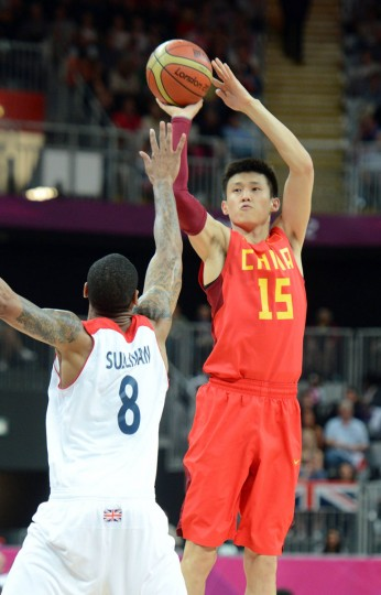 China forward Zhou Peng (15) shoots over Great Britain forward Drew Sullivan (8) during the men's basketball preliminary round game in the 2012 London Olympic Games at Basketball Arena Aug 6, 2012. (Matt Kryger/USA TODAY Sports)