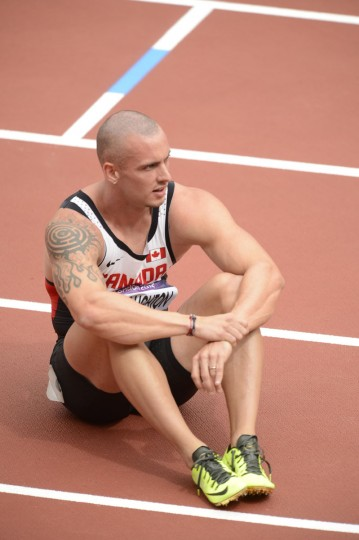 Jared Connaughton (CAN) reacts after competing in the men's 200m heats during the London 2012 Olympic Games at Olympic Stadium Aug 7, 2012. (John David Mercer/USA TODAY Sports)
