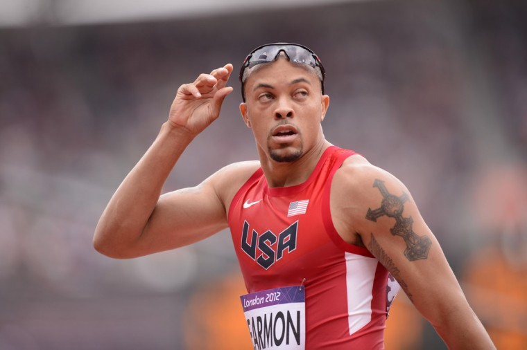 Wallace Spearman (USA) reacts after competing in the men's 200m heats during the London 2012 Olympic Games at Olympic Stadium Aug 7, 2012. (Robert Deutsch/USA TODAY Sports)