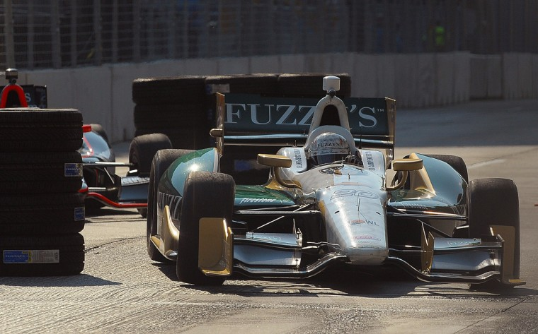 IndyCar series driver Ed Carpenter comes down the Grand Prix of Baltimore course during his afternoon practice session. (Gene Sweeney Jr./Baltimore Sun Photo)