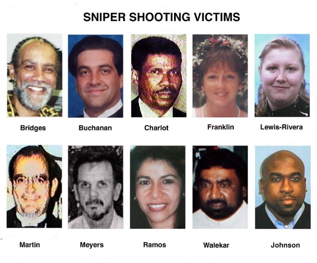 "Shown from top left to bottom right are photos of the ten fatal sniper victims; Kenneth H. Bridges, James L. ""Sonny'' Buchanan, Pascal Charlot, Linda Franklin, Lori Ann Lewis-Rivera, James Martin, Dean H. Meyers, Sarah Ramos, Prem Kumar Walekar and Conrad Johnson. Since Oct. 2, 2002 there have been 12 shootings in Maryland, Virginia and Washington, D.C., that have left ten people dead and two wounded. (AP Photos/File)"