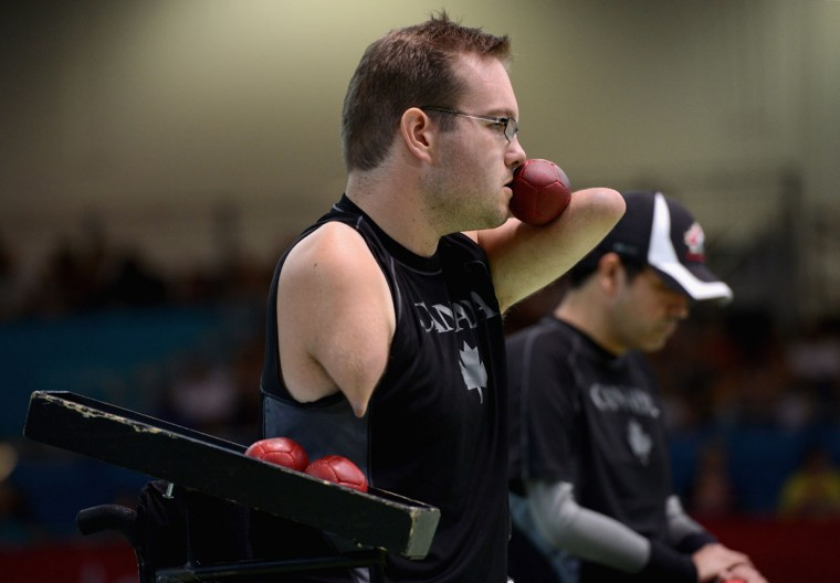 Josh Vander Vies of Canada competes during the Mixed Pairs Boccia - BC4 bronze medal final on day 6 of the London 2012 Paralympic Games at ExCel on September 4, 2012 in London, England. (Gareth Copley/Getty Images)