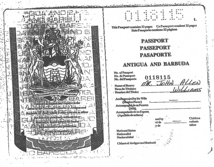 John Allen Muhammad, 41, one of the two suspects in the DC area sniper shootings, obtained this Antiguan passport in 2000 using forged documents, officials say. He submitted the name of an Antiguan woman for that of his real mother.
