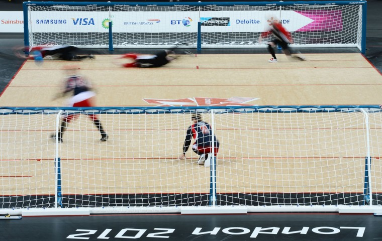 Action during the Women's Team Goalball preliminary round match between United States and Canada on Day 6 of the London 2012 Paralympic Games at the Copper Box in the Olympic Park on September 4, 2012 in London, England. (Justin Setterfield/Getty Images)