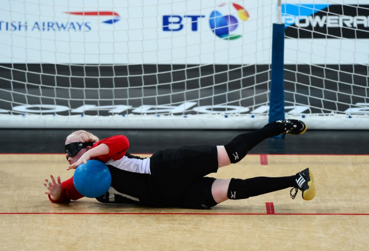 Amy Kneebone of Canada (7) saves a throw during the Women's Team Goalball preliminary round match between United States and Canada on Day 6 of the London 2012 Paralympic Games at the Copper Box in the Olympic Park on September 4, 2012 in London, England. Canada went on to win the match 1-0. (Justin Setterfield/Getty Images)