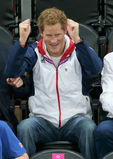 Prince Harry celebrates as Team GB scores as he attends the Goalball on day 6 of the London 2012 Paralympic Games at The Copper Box on September 4, 2012 in London, England. (Chris Jackson/Getty Images)