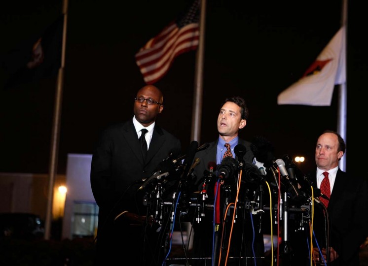Jon Sheldon (C), attorney for DC sniper John Allen Muhammad, makes a statement to the media after Muhammad was pronounced dead outside the Greensville Correctional Center November 10, 2009 near Jarratt, Virginia. Muhammad was executed at the center by lethal injection at 9 p.m. tonight for the shooting death of Dean Harold Meyers at a gas station in the Manassas area of Virginia on October 9, 2002. (Alex Wong/Getty Images)