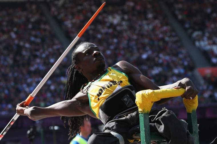 Alphanso Cunningham of Jamaica competes in the Men's Javelin Throw - F52/53 Final on day 6 of the London 2012 Paralympic Games at Olympic Stadium on September 4, 2012 in London, England. (Julian Finney/Getty Images)