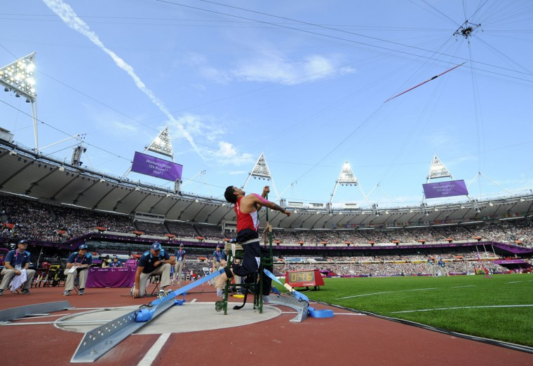 Iran's Abdolreza Jokar competes in the men's javelin throw F52/53 final during the athletics competition at the London 2012 Paralympic Games in the Olympic Stadium in east London on September 4, 2012. (Glyn Kirk/AFP/Getty Images)