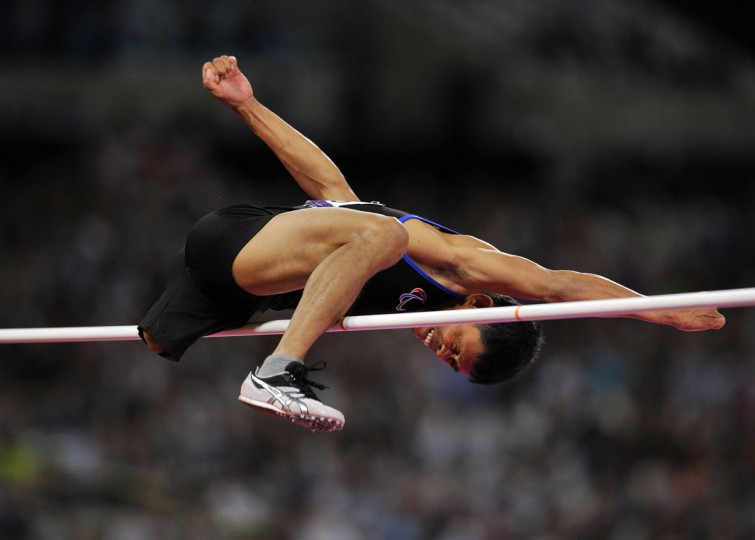 The Philippines' Andy Avellana competes in the Men's High Jump F42 Final athletics event during the London 2012 Paralympic Games at the Olympic Stadium in east London, on September 3, 2012. (Glyn Kirk/AFP/Getty Images)