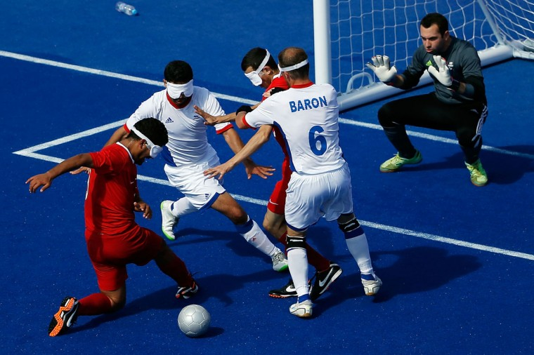 Kahraman Kurbetoglu of Turkey misses the ball attempting to shoot against France in their men's Team Football 5-a-side - B1 preliminary match on day 6 of the London 2012 Paralympic Games at Olympic Park on September 4, 2012 in London, England. (Matthew Lloyd/Getty Images)