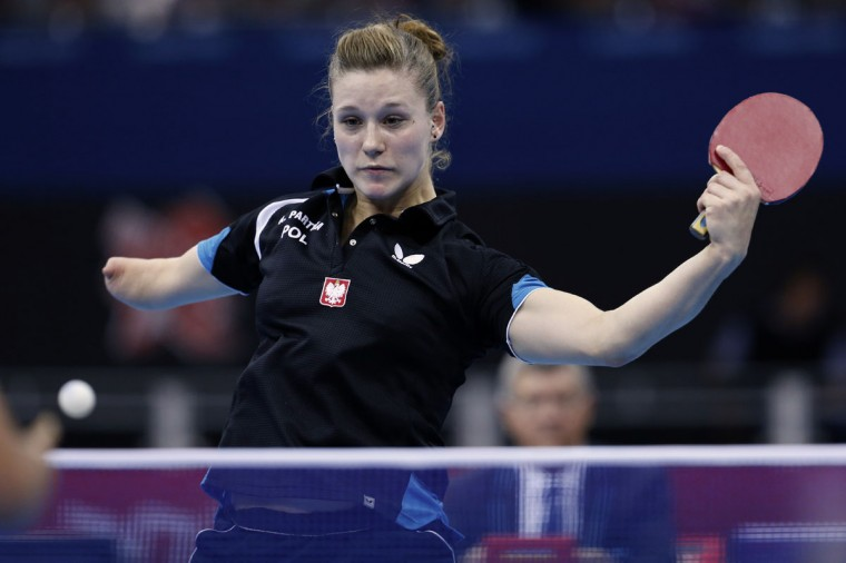 Poland's Natalia Partyka competes in the women's table tennis single class 10 at the ExCel arena in London, on September 3, 2012. Natalia Partyka won the event. (Ben Stansall/AFP/Getty Images)