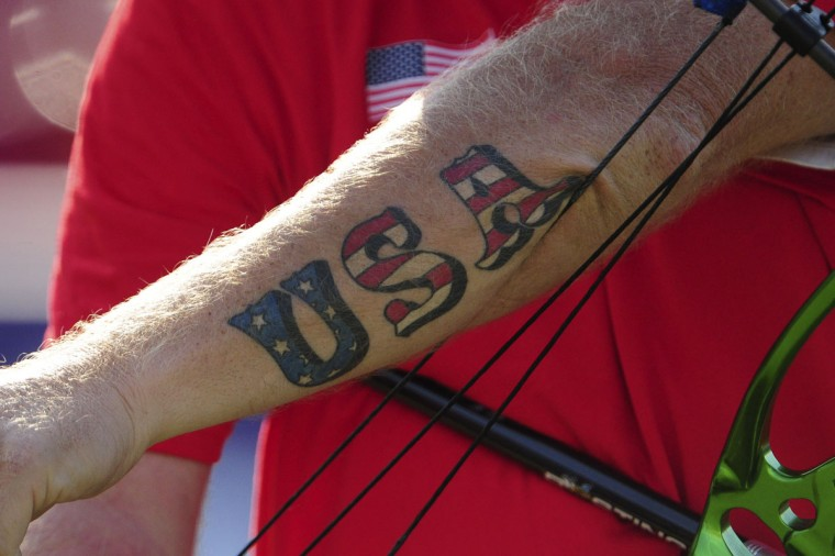View of 'USA' tattoo on Jeff Fabry's (USA) arm during the finals for the men's compound- W1 during the London 2012 Paralympic Games at Royal Artillery Barracks on September 3, 2012. (Andrew Fielding/US Presswire)