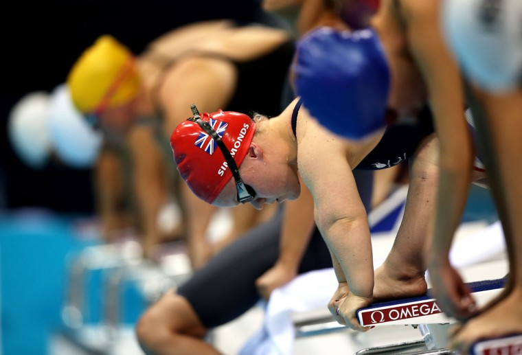 Eleanor Simmonds of Great Britain prepares to compete in the Women's 50m Freestyle - S6 heat 3 on day 6 of the London 2012 Paralympic Games at Aquatics Centre on September 4, 2012 in London, England. (Clive Rose/Getty Images)