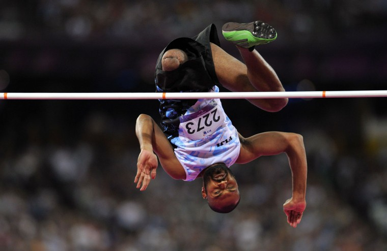 Fiji's Iliesa Delana competes in the Men's High Jump F42 Final athletics event during the London 2012 Paralympic Games at the Olympic Stadium in east London, on September 3, 2012. Iliesa Delana won gold medal. (Glyn Kirk/AFP/Getty Images)