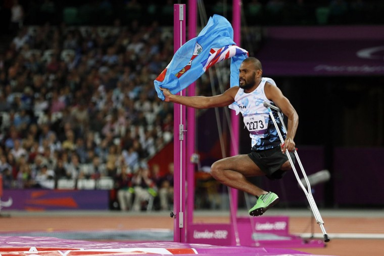 Iliesa Delana from Fiji celebrates winning the men's High Jump Final F42 during the London 2012 Paralympic Games at the Olympic Stadium in London, September 3, 2012. (Stefan Wermuth/Reuters)