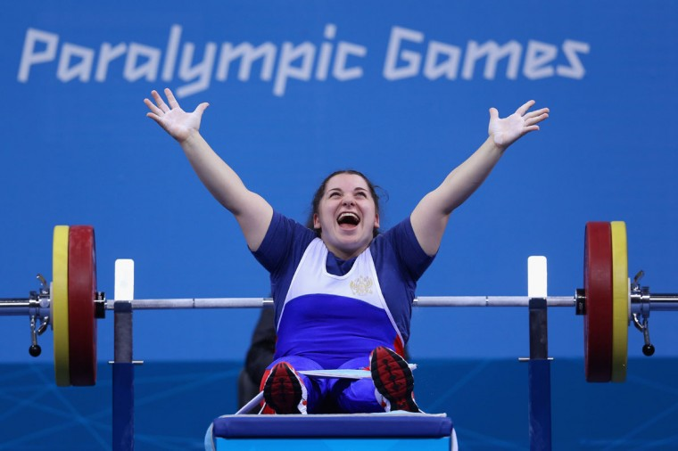 Kheda Berieva of Russia celebrates a lift in the Women's 60kg Powerlifting on day 4 of the London 2012 Paralympic Games at ExCel on September 2, 2012 in London, England. (Julian Finney/Getty Images)