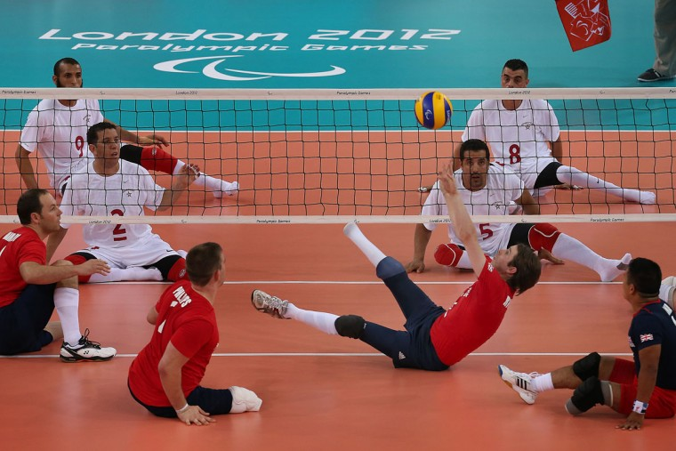 Robert Richardson of Great Britain returns a shot during the Men's Sitting Volleyball Preliminary Round Pool A match against Morocco on day 4 of the London 2012 Paralympic Games at ExCel on September 2, 2012 in London, England. (Peter Macdiarmid/Getty Images)