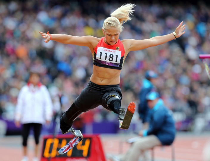 Vanessa Low (GER) competes in the women's long jump F42/44 final during the London 2012 Paralympic Games at Olympic Stadium on September 2, 2012. (Paul Cunningham/US Presswire)