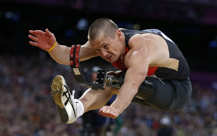 Germany's Wojtek Czyz wins silver in the men's long Jump F42/44 classification final during the London 2012 Paralympic Games at the Olympic Stadium August 31, 2012. (Eddie Keogh/Reuters)
