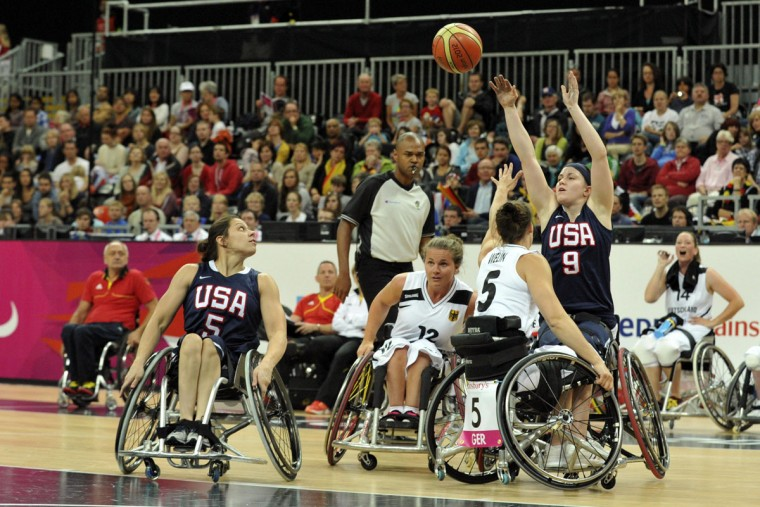 USA forward Desi Miller shoots against Germany during the London 2012 Paralympic Games at Basketball Arena on August 31, 2012. Germany defeated USA 54-48. (Andrew Fielding/US Presswire)