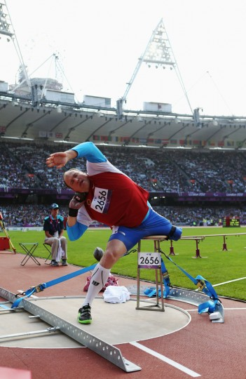 Alexey Ashapatov of Russia competes in the Men's Shot Put - F57/58 Final on day 6 of the London 2012 Paralympic Games at Olympic Stadium on September 4, 2012 in London, England. (Julian Finney/Getty Images)