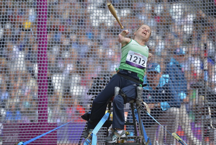 Catherine O'Neill of Ireland competes in the Women's Club throw F51/31/32 classification final at the Olympic Stadium during the London 2012 Paralympic Games September 1, 2012. All competitors are seated for their throws and have varying levels of upper limb movement impairment. (Toby Melville/Reuters)