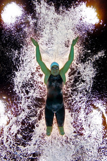 Jessica Long of the United States competes in the Women's 100m Butterfly - S8 heat 2 on day 1 of the London 2012 Paralympic Games at Aquatics Centre in London, England. (Clive Rose/Getty Images)
