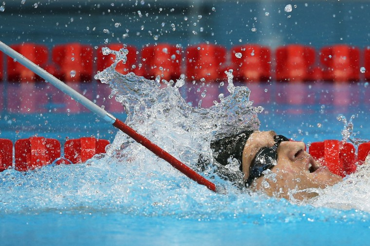 Bradley Snyder of the United States re-swims the Men's 100m backstroke - S11 final after a an official inquiry on day 4 of the London 2012 Paralympic Games at Aquatics Centre in London, England. (Clive Rose/Getty Images)