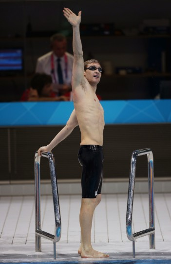 Bradley Snyder of the United States waves to the crowd after re-swiming the Men's 100m backstroke - S11 final following a an official inquiry on day 4 of the London 2012 Paralympic Games at Aquatics Centre on September 2, 2012 in London, England. (Clive Rose/Getty Images)