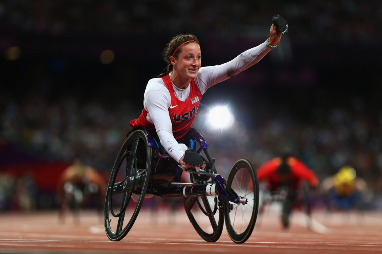 Tatyana Mcfadden of the United States wins gold in the Women's 400m - T54 Final on day 5 of the London 2012 Paralympic Games at Olympic Stadium in London, England. (Michael Steele/Getty Images)