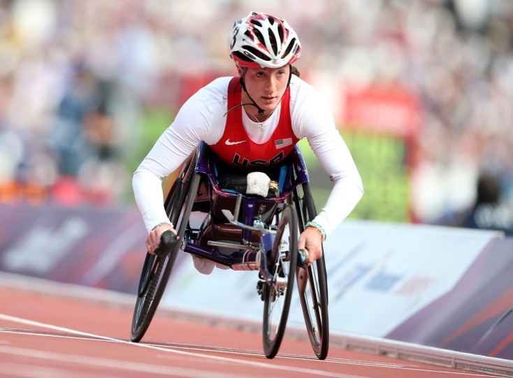 Tatyana Mcfadden of the United States competes in the Women's 800m - T54 heats on day 6 of the London 2012 Paralympic Games at Olympic Stadium in London, England. (Bryn Lennon/Getty Images)